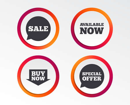 Sale icons. Special offer speech bubbles symbols. Buy now arrow shopping signs. Available now. Infographic design buttons. Circle templates. Vector Vettoriali