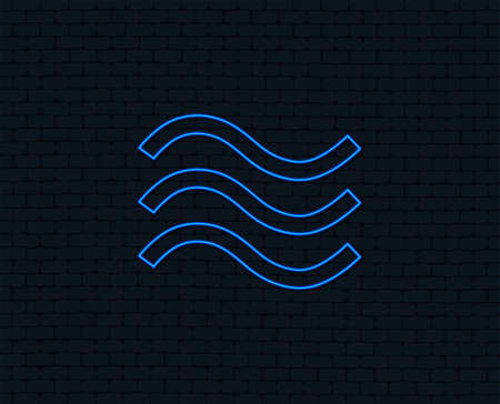 Neon light. Water waves sign icon. Flood symbol. Glowing graphic design. Brick wall. Vector