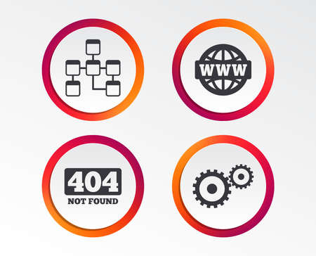 Website database icon. Internet globe and gear signs. 404 page not found symbol. Under construction. Infographic design buttons. Circle templates. Vector