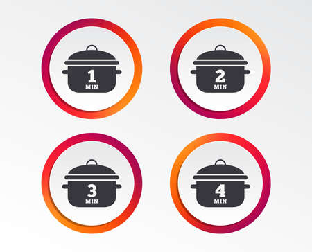 Cooking pan icons. Boil 1, 2, 3 and 4 minutes signs. Stew food symbol. Infographic design buttons. Circle templates. Vector Illustration