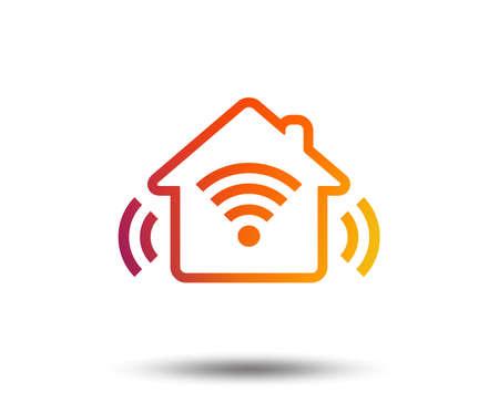 Smart home sign icon. Smart house button. Remote control. Blurred gradient design element. Vivid graphic flat icon. Vector
