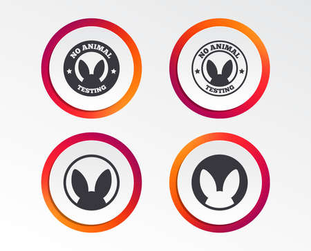 No animals testing icons. Non-human experiments signs symbols. Infographic design buttons. Circle templates. Vector Illustration