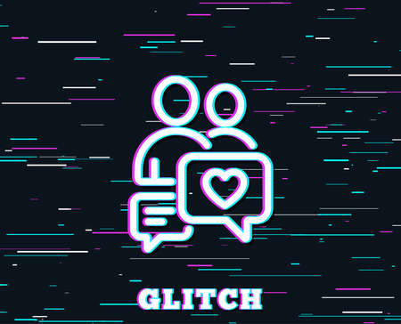 Glitch effect. Couple communication line icon. Love chat symbol. Valentines day sign. Background with colored lines. Vector Foto de archivo - 102084731