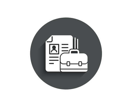 Business case with CV simple icon. Portfolio symbol. Vacancy or Hiring sign. Circle flat button with shadow. Vector Illustration