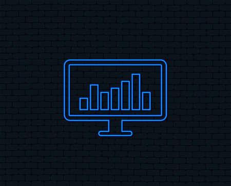 Neon light. Computer monitor sign icon. Market monitoring. Glowing graphic design. Brick wall. Vector