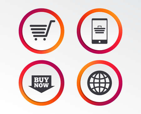 Online shopping icons. Smartphone, shopping cart, buy now arrow and internet signs. WWW globe symbol. Infographic design buttons. Circle templates. Vector Stock Vector - 102084865