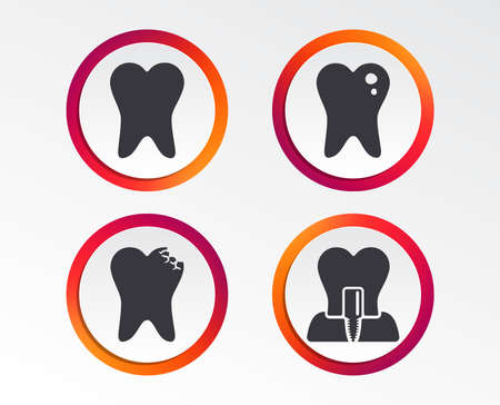 Dental care icons. Caries tooth sign. Tooth endosseous implant symbol. Infographic design buttons. Circle templates. Vector