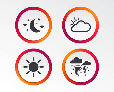 Weather icons. Moon and stars night. Cloud and sun signs. Storm or thunderstorm with lightning symbol. Infographic design buttons. Circle templates. Vector Illustration
