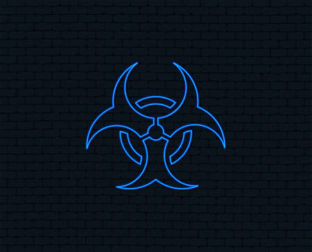 Neon light. Biohazard sign icon. Danger symbol. Glowing graphic design. Brick wall. Vector Illustration