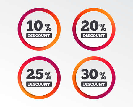 Sale discount icons. Special offer price signs. 10, 20, 25 and 30 percent off reduction symbols. Infographic design buttons. Circle templates. Vector Reklamní fotografie - 102084889