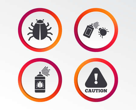 Bug disinfection icons. Caution attention symbol. Insect fumigation spray sign. Infographic design buttons. Circle templates. Vector Banque d'images - 102084891