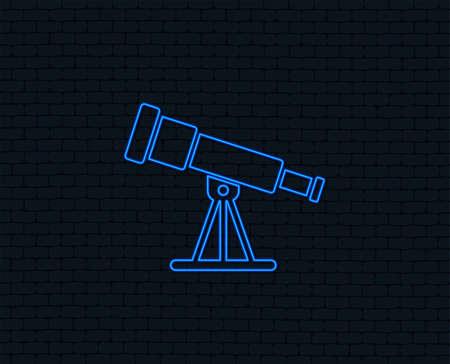 Neon light. Telescope icon. Spyglass tool symbol. Glowing graphic design. Brick wall. Vector