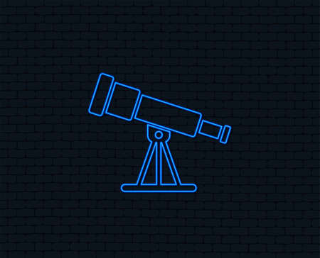 Neon light. Telescope icon. Spyglass tool symbol. Glowing graphic design. Brick wall. Vector