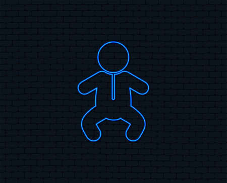 Neon light. Baby infant sign icon. Toddler boy in pajamas or crawlers body symbol. Child WC toilet. Glowing graphic design. Brick wall. Vector