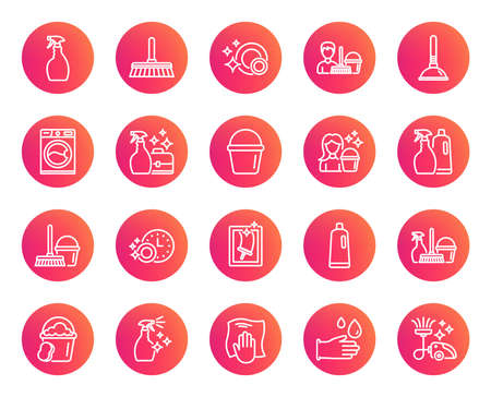 Cleaning line icons. Laundry, Sponge and Vacuum cleaner signs. Washing machine, Housekeeping service and Maid equipment symbols. Window cleaning and Wipe off. Trendy gradient circle buttons. Vector Ilustração
