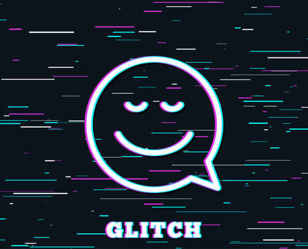 Glitch effect. Comic speech bubble with Smile line icon. Chat emotion sign. Background with colored lines. Vector