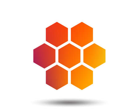 Honeycomb sign icon. Honey cells symbol. Sweet natural food. Blurred gradient design element. Vivid graphic flat icon. Vector Banco de Imagens - 102084932