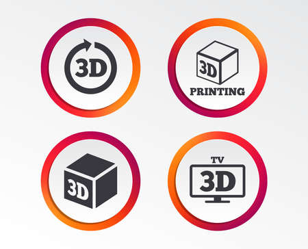 3d tv technology icons. Printer, rotation arrow sign symbols. Print cube. Infographic design buttons. Circle templates. Vector