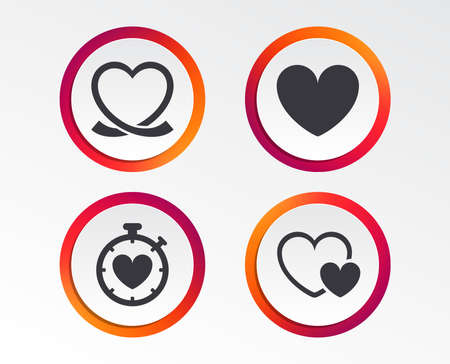 Heart ribbon icon. Timer stopwatch symbol. Love and Heartbeat palpitation signs. Infographic design buttons. Circle templates. Vector