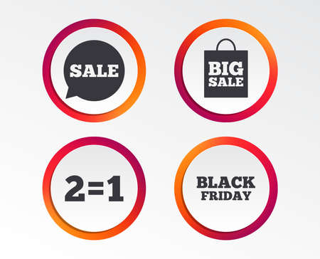 Sale speech bubble icons. Two equals one. Black friday sign. Big sale shopping bag symbol. Infographic design buttons. Circle templates. Vector