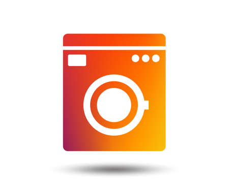 Washing machine icon. Home appliances symbol. Blurred gradient design element. Vivid graphic flat icon. Vector