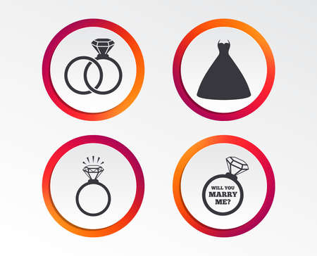 Wedding dress icon. Bride and groom rings symbol. Wedding or engagement day ring shine with diamond sign. Will you marry me? Infographic design buttons. Circle templates. Vector Illustration