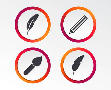 Feather retro pen icons. Paint brush and pencil symbols. Artist tools signs. Infographic design buttons. Circle templates. Vector Banque d'images - 102084950