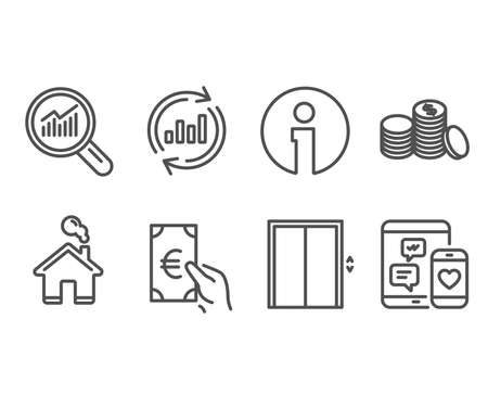 Set of Lift, Update data and Banking money icons. Data analysis, Finance and Social media signs. Elevator, Sales chart, Cash finance. Magnifying glass, Eur cash, Mobile devices. Vector Illustration