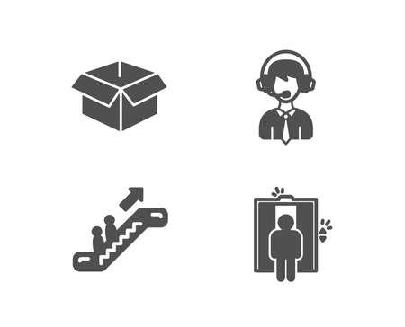 Set of Opened box, Shipping support and Escalator icons. Elevator sign. Shipping parcel, Delivery manager, Elevator. Lift.  Quality design elements. Classic style. Vector Imagens - 102084958