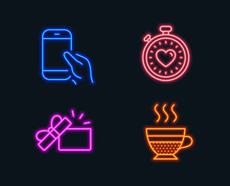 Neon lights. Set of Hold smartphone, Opened gift and Heartbeat timer icons. Cafe creme sign. Phone call, Present box, Love stopwatch. Hot coffee.  Glowing graphic designs. Vector