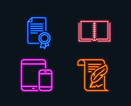 Neon lights. Set of Book, Mobile devices and Certificate icons. Feather sign. E-learning course, Smartphone with tablet, Diploma. Copyright page.  Glowing graphic designs. Vector Illusztráció