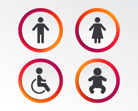 WC toilet icons. Human male or female signs. Baby infant or toddler. Disabled handicapped invalid symbol. Infographic design buttons. Circle templates. Vector