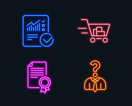 Neon lights. Set of Certificate, Checked calculation and Shopping cart icons. Hiring employees sign. Diploma, Statistical data, Online buying. Human resources.  Glowing graphic designs. Vector  イラスト・ベクター素材