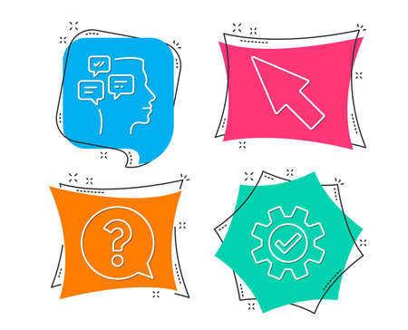Set of Mouse cursor, Question mark and Messages icons. Service sign. Click arrow, Help support, Notifications. Cogwheel gear. Flat geometric colored tags. Vivid banners. Trendy graphic design. Vector