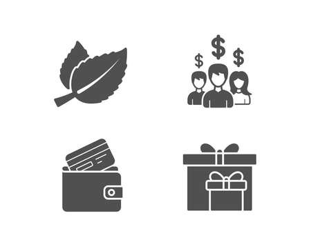 Set of Mint leaves, Salary employees and Debit card icons. Delivery boxes sign. Mentha herbal, People earnings, Wallet with credit card. Birthday gifts.  Quality design elements. Classic style. Vector