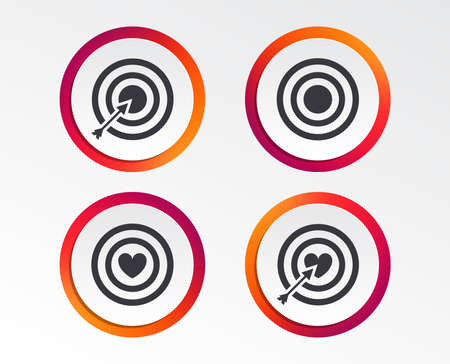Target aim icons. Darts board with heart and arrow signs symbols. Infographic design buttons. Circle templates. Vector