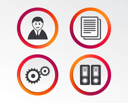 Accounting workflow icons. Human silhouette, cogwheel gear and documents folders signs symbols. Infographic design buttons. Circle templates. Vector Ilustrace
