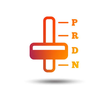 Automatic transmission sign icon. Auto car control symbol. Blurred gradient design element. Vivid graphic flat icon. Vector Illustration
