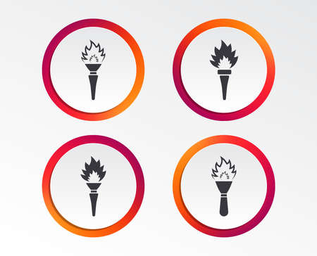 Torch flame icons. Fire flaming symbols. Hand tool which provides light or heat. Infographic design buttons. Circle templates. Vector
