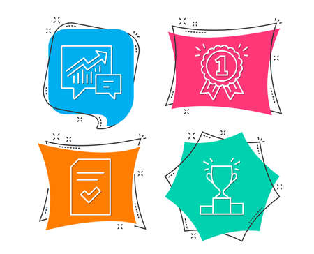 Set of Accounting, Checked file and Reward icons. Winner podium sign. Supply and demand, Correct document, First place. Competition results.  Flat geometric colored tags. Vivid banners. Vector Reklamní fotografie - 102085003