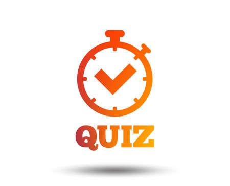 Quiz-Timer-Zeichensymbol. Fragen und Antworten Spielsymbol. Unscharfes Farbverlaufsgestaltungselement. Lebhaftes grafisches flaches Symbol. Vektor