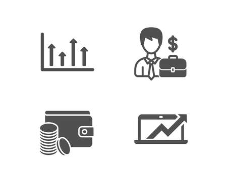 Set of Businessman case, Upper arrows and Payment method icons. Sales diagram sign. Human resources, Growth infochart, Wallet with coins. Sale growth chart.  Quality design elements. Classic style Illusztráció