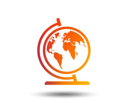Globe sign icon. World map geography symbol. Globe on stand for studying. Blurred gradient design element. Vivid graphic flat icon. Vector Ilustração
