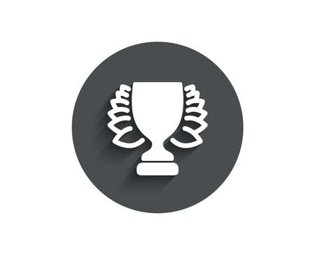 Award cup simple icon. Winner Trophy with Laurel wreath symbol. Sports achievement sign. Circle flat button with shadow. Vector