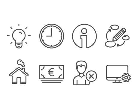 Set of Light bulb, Euro currency and Remove account icons. Keywords, Time and Monitor settings signs. Lamp energy, Eur banking, Delete user. Marketing strategy, Office clock, Service cogwheel. Vector