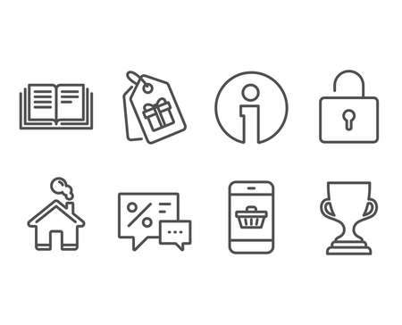 Set of Discounts, Lock and Coupons icons. Smartphone buying, Education and Award cup signs. Best offer, Private locker, Shopping tags. Website shopping, Instruction book, Trophy. Vector