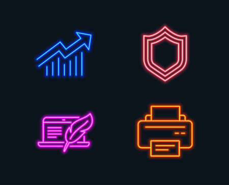 Neon lights. Set of Copyright laptop, Security and Demand curve icons. Printer sign. Writer device, Protection shield, Statistical report. Printing device.  Glowing graphic designs. Vector