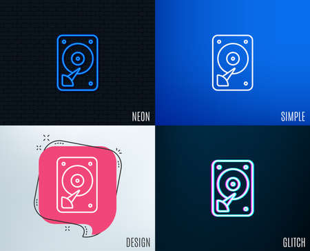 Glitch, Neon effect. HDD icon. Hard disk storage sign. Hard drive memory symbol. Trendy flat geometric designs. Vector Иллюстрация