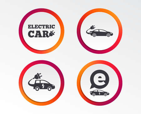 Electric car icons. Sedan and Hatchback transport symbols. Eco fuel vehicles signs. Infographic design buttons. Circle templates. Vector Illustration