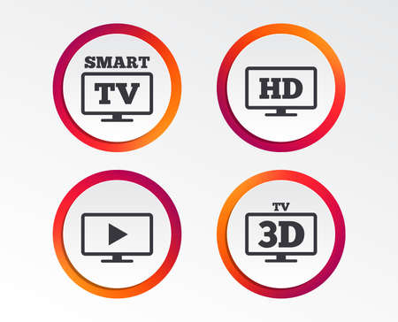Smart TV mode icon. Widescreen symbol. High-definition resolution. 3D Television sign. Infographic design buttons. Circle templates. Vector